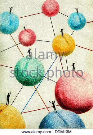 People waving standing on connected balls - Stock Photo