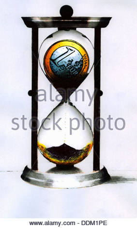 Euro coin disintegrating in hourglass - Stock Photo