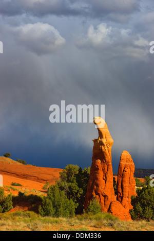 Rainshowers at Devils Garden near Escalante, Utah - Stock Photo