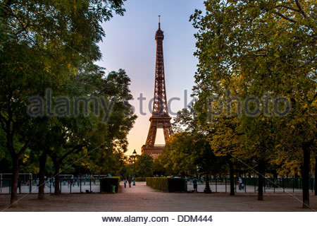 Looking through the park and trees at the Eiffel Tower at sunset, Paris, France - Stock Photo