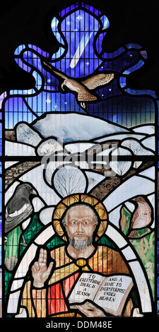 St Peter depicted in stained glass, millennium window, Stainforth, Yorkshire Dales National Park, England - Stock Photo