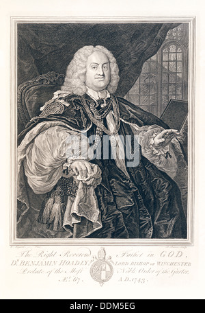 Portrait of Dr Benjamin Hoadly, Lord Bishop of Winchester, 1743. Artist: B Baron - Stock Photo