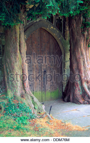 North door, St Edward's Church, Stow-on-the-Wold, Gloucestershire. Artist: Philip Mott - Stock Photo