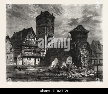 NUREMBERG: OLD PRISON ON THE PEGNITZ, GERMANY. A city in the German state of Bavaria - Stock Photo