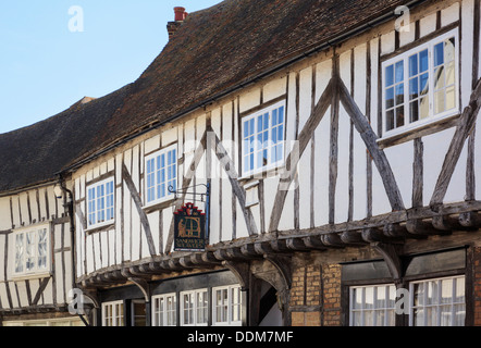 Sandwich Weavers sign on half timbered medieval house on Strand Street, Sandwich, Kent, England, UK, Britain - Stock Photo