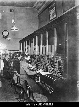 GPO telephone exchange, London, c1905. Artist: Unknown - Stock Photo