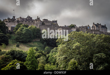 Edinburgh Castle and c on the skyline of the city of Edinburgh, on Castle Rock Scotland UK United Kingdom - Stock Photo
