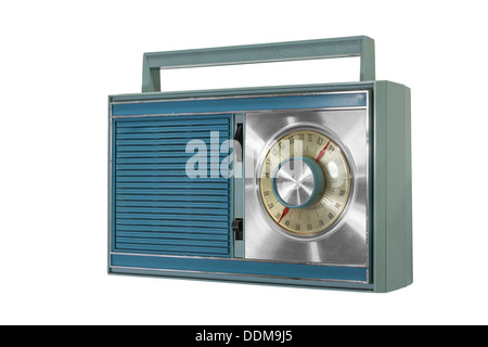 Retro portable radio isolated from the 1960s. - Stock Photo