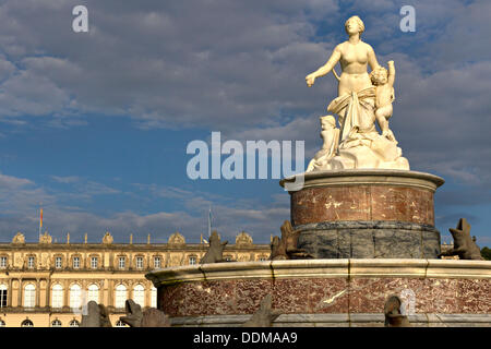 Herrenchiemsee Schloss Palace Fountain Figure, Herreninsel, Chiemsee Chiemgau, Upper Bavaria Germany - Stock Photo