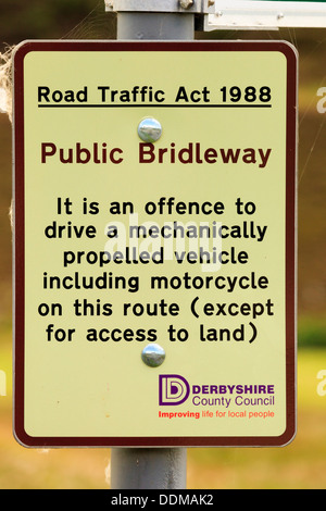 Public Bridleway sign prohibiting all motor vehicles on a track in the Peak District Derbyshire - Stock Photo
