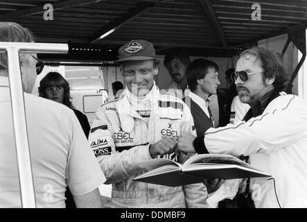 Niki Lauda, F1 driver for Marlboro McLaren, at the European Grand Prix, Brands Hatch, Kent, 1983. Artist: Unknown - Stock Photo