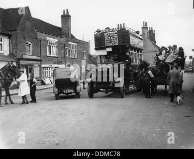 Bus on a street in Amersham, Buckinghamshire. Artist: Unknown - Stock Photo