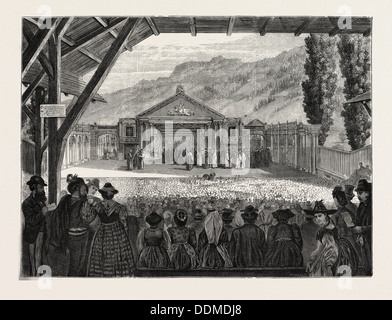 THE THEATRE OF OBERAMMERGAU PASSION PLAY, BAVARIA, BAYERN, GERMANY, 1870 - Stock Photo