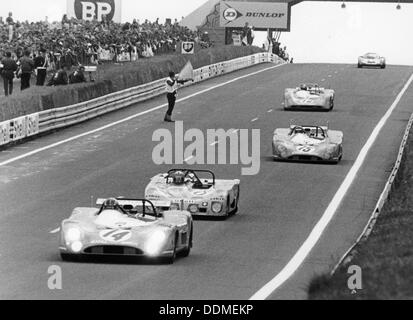 Matra-Simca 670 leading a Lola T280, Le Mans, France, 1972. Artist: Unknown - Stock Photo