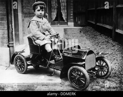 Boy in 1908 Mercedes 28/32 hp pedal car, c1908. Artist: Unknown - Stock Photo