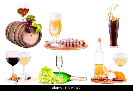 red wine, champagne,beer,alcohol cocktail with corkscrew,grape,Blue berrie, ice bucket on a vintage wooden table - Stock Photo