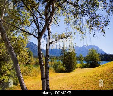 DE - BAVARIA: Lake Barmsee near Kruen with Karwendel mountains in background - Stock Photo