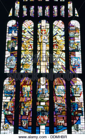 The Millennium Window, St Lawrence's Church, Hatfield, Hertfordshire. Artist: Dorothy Burrows - Stock Photo