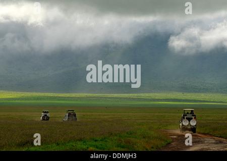 Jeep safari tour in Ngorongoro national Park Tanzania Collection - Stock Photo