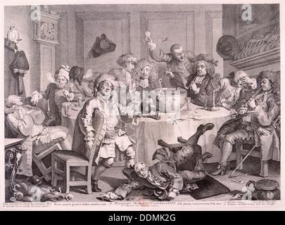 'A Midnight Modern Conversation', 1733. Artist: William Hogarth - Stock Photo