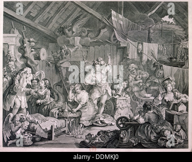 'Strolling actresses dressing in a barn', 1738. Artist: William Hogarth - Stock Photo