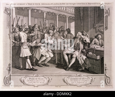 'The industrious 'prentice alderman of London...', plate X of Industry and Idleness1747. Artist: William Hogarth - Stock Photo
