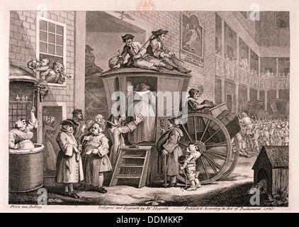 'The stage-coach or the country inn yard', 1747. Artist: William Hogarth - Stock Photo