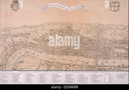 Map of London, c1560. Artist: Anon - Stock Photo