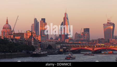 River Thames - City of London skyline - Stock Photo
