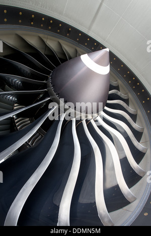 Close up of jet engine on commercial aircraft - Stock Photo