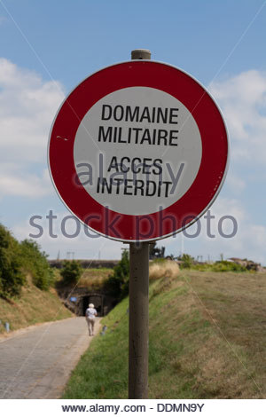 French sign stating Military Domain Access Forbidden - Stock Photo