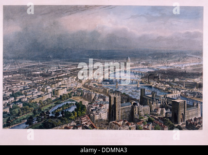 View of London from Westminster, c1850. Artist: A Appert - Stock Photo
