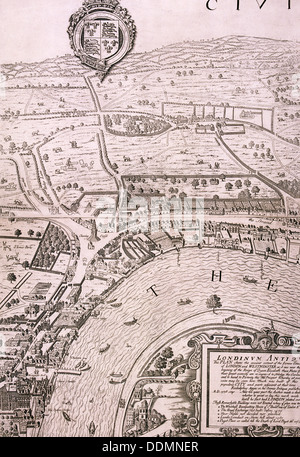 Map of London, 1560. Artist: George Vertue - Stock Photo
