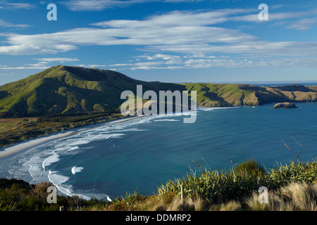 Allans Beach and Mt Charles, Otago Peninsula, Dunedin, Otago, South Island, New Zealand - Stock Photo