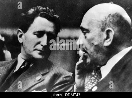 Nahum Goldmann (1894-1982), and Chaim Weizmann (1874-1952), Zionist and World Jewish Leaders. Artist: Unknown