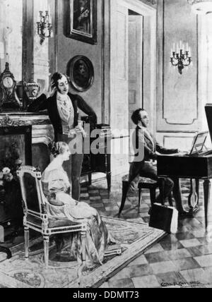 Felix Mendelssohn (1809-1847), performing for Queen Victoria and Prince Albert at Buckingham Palace. - Stock Photo