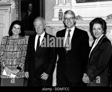Yitzhak Rabin (1922-1995), Israeli PM, with John Major (1943- ), British PM, 1992. Artist: Sidney Harris - Stock Photo