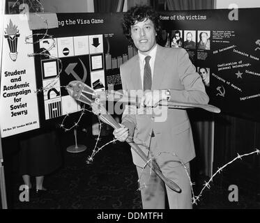 Tom Stoppard (1937-), British Playwright, opening an exhibition for Soviet Jewry. Artist: Sidney Harris - Stock Photo