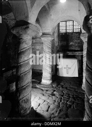 Crypt of St Wystan's church, Repton, Derbyshire, 1950. Artist: FJ Palmer - Stock Photo
