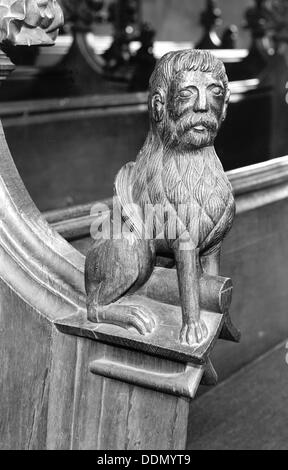 Late medieval bench end in St Mary's Church, Woolpit, Suffolk, c1965-c1969.   Artist: Laurence Goldman - Stock Photo