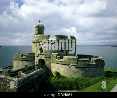View from the North, St Mawes Castle, Cornwall, 1988. - Stock Photo