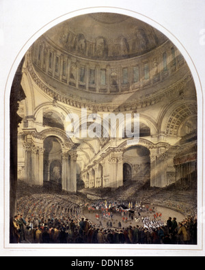 St Paul's Cathedral (new) interior, London, c1852. Artist: Andrew Maclure - Stock Photo