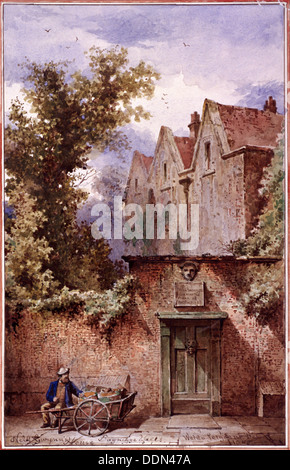Nell Gwynne's house, Bagnigge Wells, St Pancras, London, 1865. Artist: Waldo Sargeant - Stock Photo