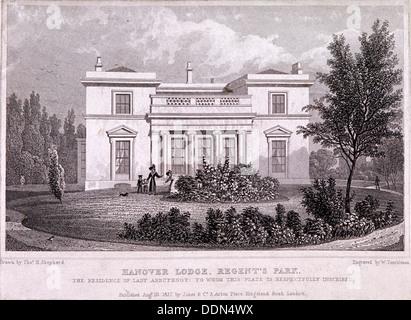 Hanover Lodge, Regent's Park, Marylebone, London, 1827. Artist: William Tombleson - Stock Photo