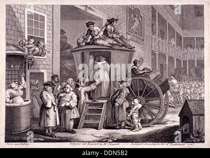 'The stage-coach, or the country inn yard', 1747. Artist: William Hogarth - Stock Photo