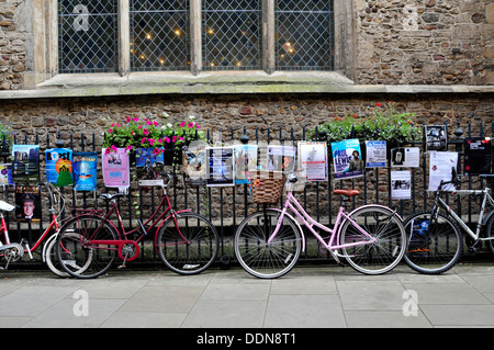 Parked bicycles in Cambridge, UK - Stock Photo