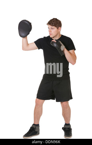 Boxing trainer on a white background - Stock Photo