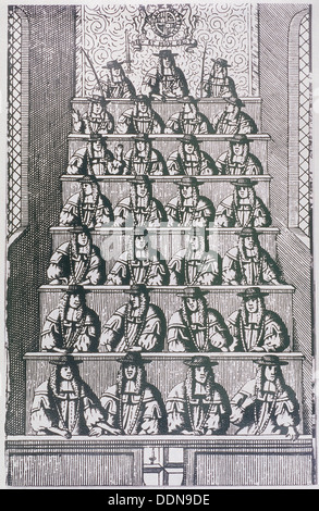View of the Lord Mayor and court of Aldermen, depicted in 1681, (c1950). Artist: Anon - Stock Photo