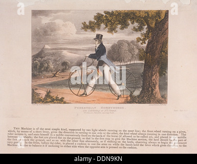 View of a 'Pedestrian Hobbyhorse', 1819. Artist: Anon - Stock Photo