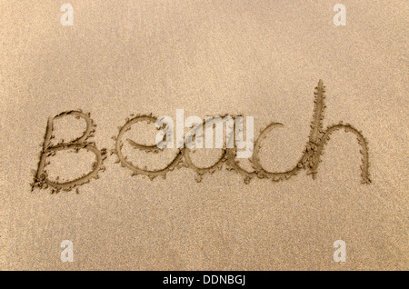 Beach written in the sand - Stock Photo